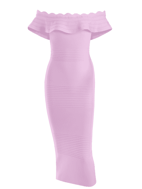fashion Off The Shoulder Flounce Bandage Dress - PINKISH PURPLE S Mobile