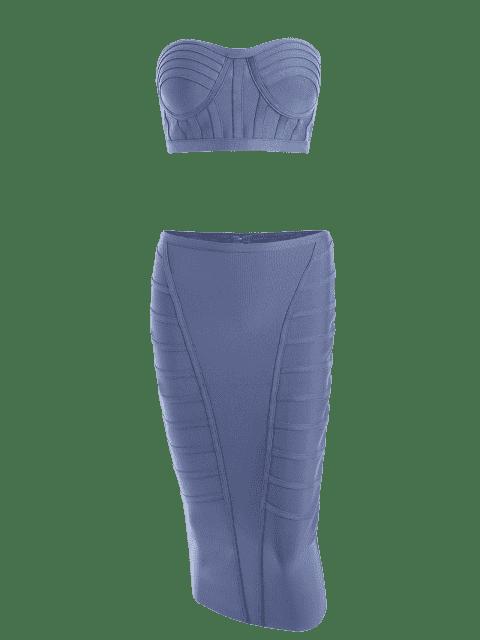 Ensemble de jupe en forme de bande et bretelles sans bretelles - Gris Bleuté M Mobile