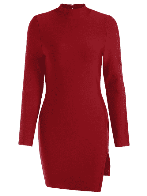 outfits Slit Long Sleeve Bodycon Dress - DEEP RED S Mobile