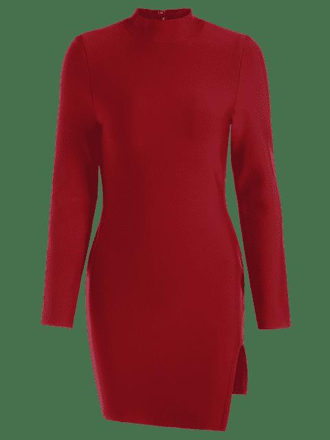 shops Slit Long Sleeve Bodycon Dress - DEEP RED L Mobile