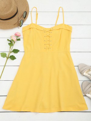 Smocked Panel Lace Up Mini Dress - Yellow M