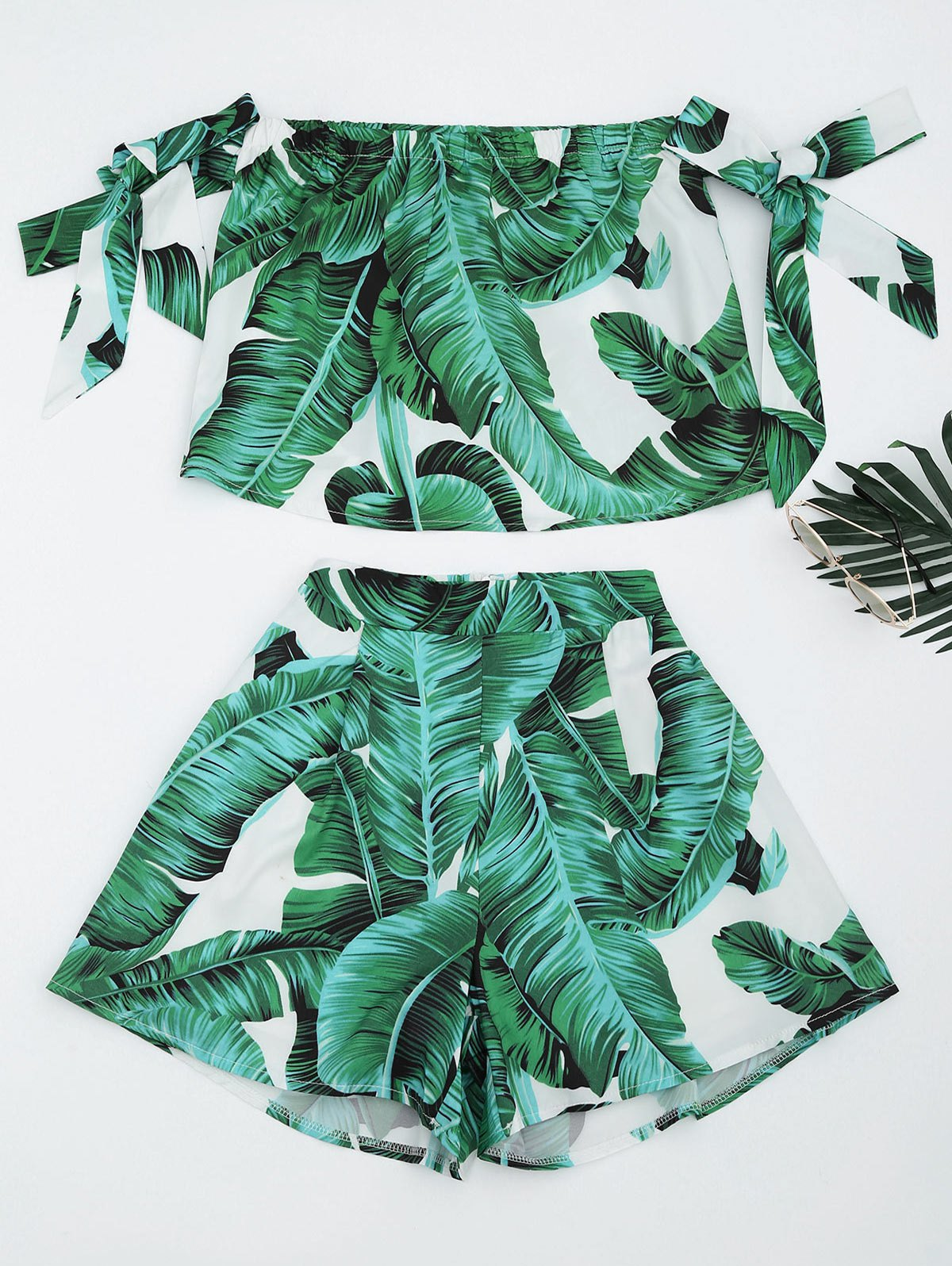 Leaves Print Crop Top and Shorts Set 219875301