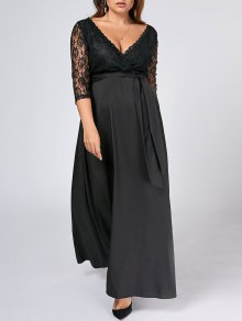 Belted Lace Panel Maxi Plus Size Dress - Black 3xl
