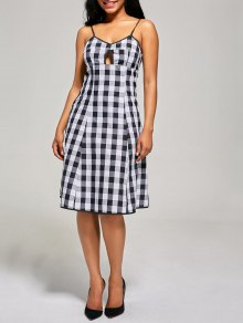 Empire Waist Hollow Out Tartan Cami Dress - Black White L