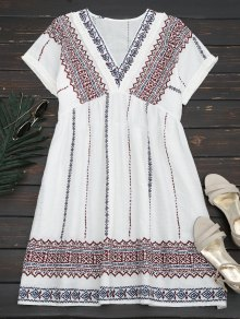 Tassels Embroidered Shift Dress - White M