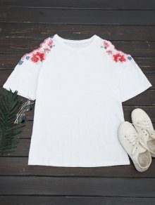 Floral Embroidered Cold Shoulder T-shirt - White S