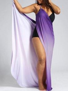 Ombre Plus Size Wrap Cover Up Maxi Dress - Purple Xl