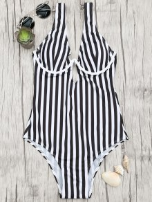 Underwire Striped One Piece Swimsuit - White And Black M