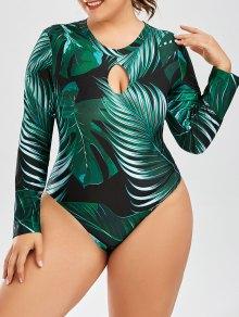 Palm Leaf Print One Piece Plus Size Swimsuit - Deep Green 3xl