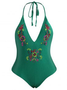 Embroidered Backless Plus Size Swimsuit - Green 4xl