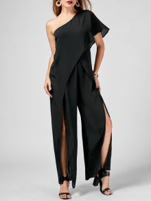 One Shoulder High Slit Chiffon Jumpsuit - Black M