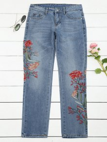 Bleach Wash Floral Embroidered Tapered Jeans - Denim Blue Xl