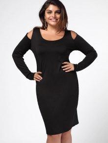 Plus Size Cold Shoulder Sheath Dress - Black 3xl