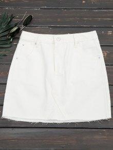 Cutoffs Denim Mini Skirt - White L