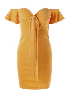 Corset Off The Shoulder Bodycon Dress - Yellow 2xl