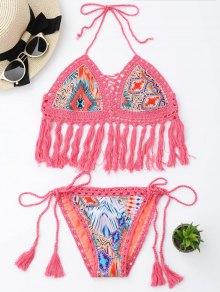 Tassel Argyle Crochet Bralette String Bikini - Pink L