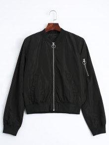 Zip Up Fall Bomber Jacket - Black S
