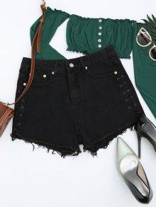 Frayed Hem Lace Up Denim Shorts - Black L