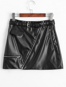Asymmetric Zipper Belted Faux Leather Skirt - Black Xl