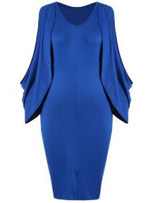 Plus Size Split Sleeve Front Furcal Bodycon Dress - Blue 2xl