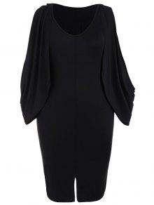 Plus Size Split Sleeve Front Furcal Bodycon Dress - Black 2xl