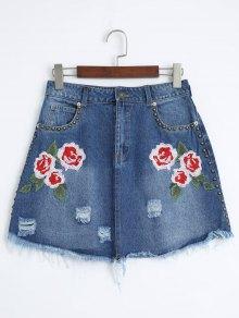 Floral Embroidered Cutoffs Ripped Denim Skirt - Denim Blue M