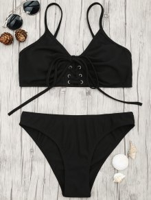 Eyelets Lace Up Bralette Bikini Set - Black M