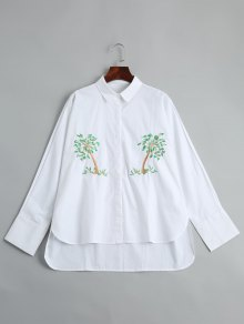 Tree Embroidered High Low Shirt - White S
