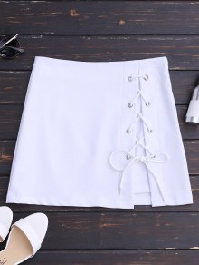 High Waisted Lace Up Bodycon Skirt - White L
