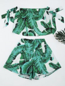 Leaves Print Crop Top And Shorts Set - Green L
