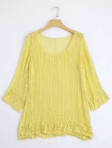 Knitted Crochet Cut Out Top - Yellow