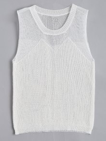Round Collar Knitted Tank Top - White