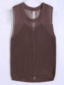 Round Collar Knitted Tank Top - Coffee