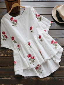 Floral Embroidered High Low Blouse - White M