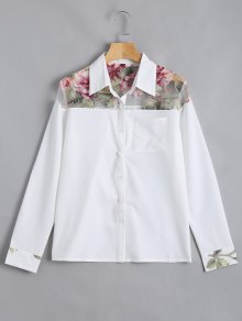 Button Up Floral Pocket Shirt - White M
