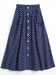 Button Up Polka Dot Skirt With Pockets - Dot Pattern L