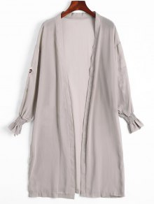 Floral Patched Open Front Chiffon Blouse - Pale Pinkish Grey