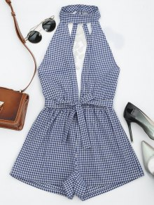 Cut Out Backless Tassels Checked Romper - Blue Xl