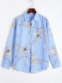 Floral Print Striped Long Shirt - Blue S