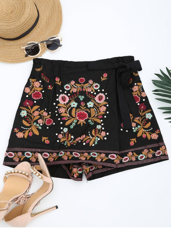 women Bowknot Floral Embroidered Culotte Shorts - BLACK S