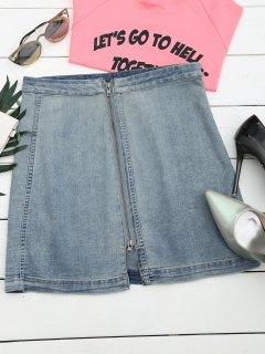 Front Slit Zip Up A Line Skirt - Denim Blue M