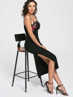 Floral Patched Mesh Panel Slit Cami Dress - Black