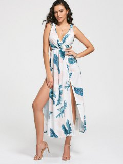 Plunging Neck Leaves Print High Slit Dress - White Xl