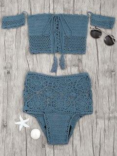 Off Shoulder High Waisted Crochet Bikini - Peacock Blue S