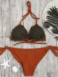 Two Tone Tie Side Crochet String Bikini - Brick-red M