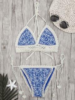 Paisley Tied Bralette Crochet String Bikini - Blue S