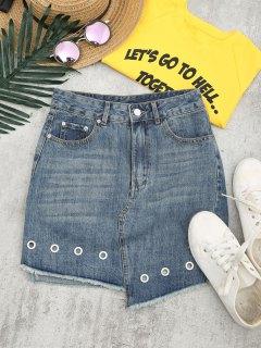 Cutoffs Asymmetrical Denim Skirt - Denim Blue 29