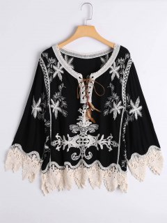 Lace Up Embroidered Lace Panel Blouse - Black