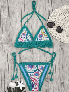 Bralette Scalloped Crochet Sun Floral String Bikini - Green S