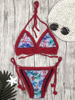 Leaf Bralette Scalloped Crochet String Bikini - Red S